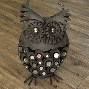 Retro Metal Owl Sculpture with Mirror Accent